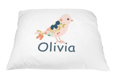 Coral Bird Pillow Case