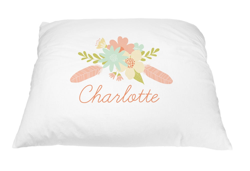Coral Flower Spray Pillow Case