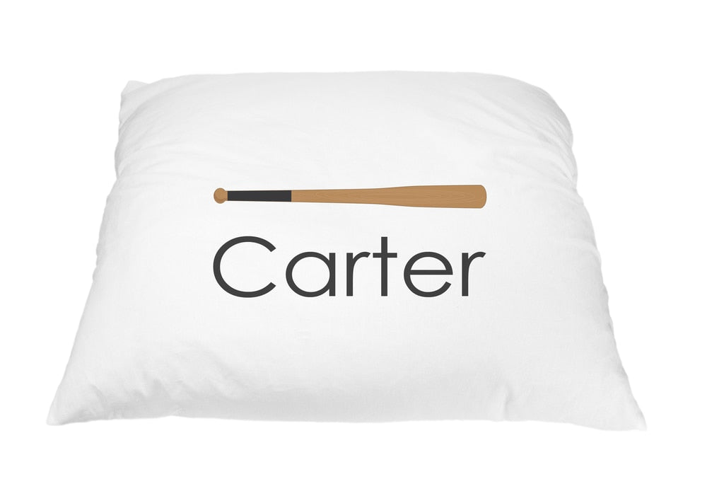 Baseball Bat Pillow Case - Boy Fonts