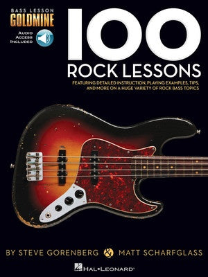 100 ROCK LESSONS BASS GOLDMINE SERIES BK/OLA
