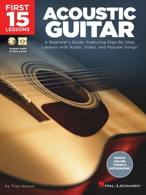 FIRST 15 LESSONS ACOUSTIC GUITAR BK/OLM