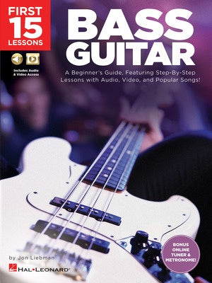 FIRST 15 LESSONS BASS GUITAR BK/OLM