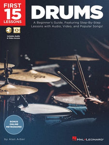 FIRST 15 LESSONS DRUMS BK/OLM
