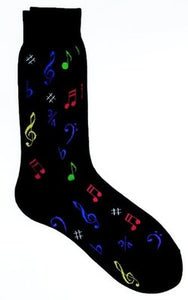 SOCKS MULTI NOTES BLACK MENS