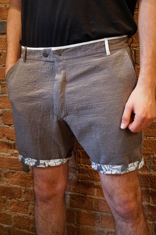Descendant of Thieves : Reversible Shorts : Grey and Hawaiian Floral - dapperdirect
