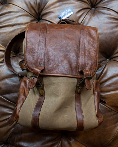 Moore & Giles : Leather Backpack in Waxwear Rangertan