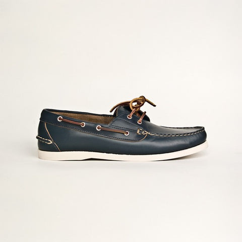 Oak Street Bootmakers : Navy Boat Shoe - dapperdirect