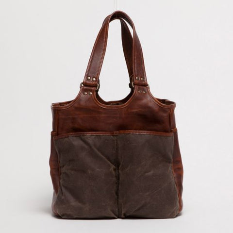 Moore and Giles Belle Picnic Tote Waxwear Rangertan Titan Milled Brown - dapperdirect