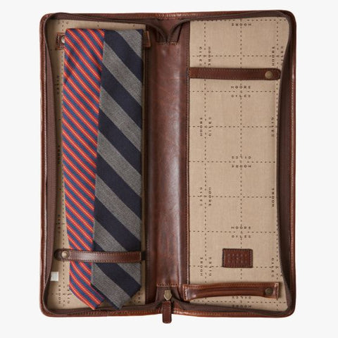 Moore and Giles Evans Tie Case Titan Milled Brown - dapperdirect