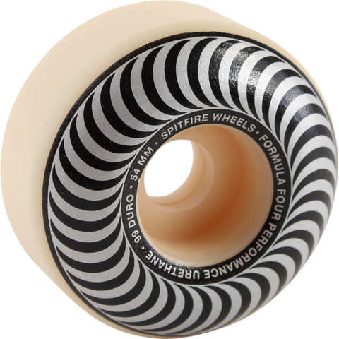 54mm 99a Spitfire Formula Fours Classic Swirl White W/ Silver