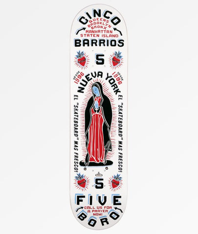 "8.0"" White 5Boro Virgin Mary Skateboard"