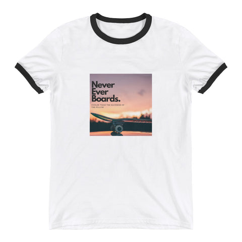 Never Ever Boards Ringer T-Shirt (No Back Branding)