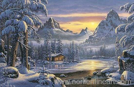 Evening On Mountain Lake - Canvas - Canvas