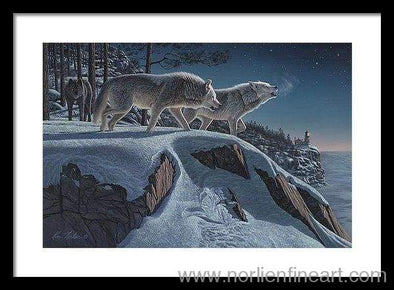 Moonlight Prowlers - Framed Print - 20.000 X 13.375 / Black / White - Framed Print
