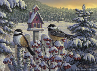Winter Chickadees - Print - 8 X 12 - Prints & Giclees