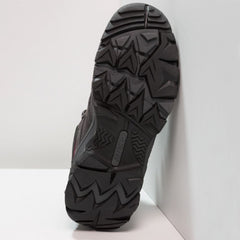 Charcoal/Cool Grey/ Amaranth | Hi-Tec Ravus Vent Mid Waterproof Womens. Sole of shoe shown leaning against a wall