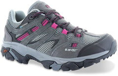 Charcoal/Cool Grey/ Amaranth | Hi-Tec Ravus Low Waterproof Womens. Side View, Grey with Pink Highlights
