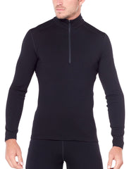 Black | Icebreaker Mens Merino 260 Tech Long Sleeve Half Zip Thermal. Front View