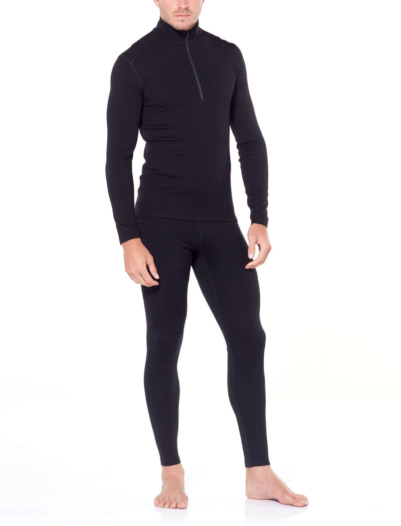Black | Icebreaker Mens Merino 260 Tech Long Sleeve Half Zip Thermal