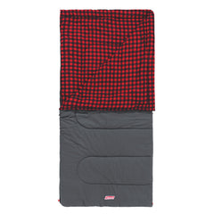 Coleman Sleeping Bag Pilbara C 0. Full View with top folded back showing red checked lining