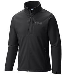 Black | Columbia Mens Ascender SoftShell Jacket. Front View with Zipper done up