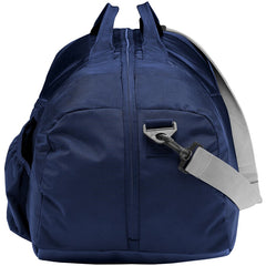Navy | End view showing zipper handles and strap