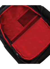 Jet Black True Red | Black Wolf Pearson Daypack. Organiser pocket showing lining colour. True Red with black mesh pockets