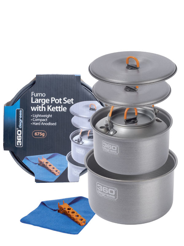 360 degrees Furno Large Pot Set with Kettle. contents shown next to packaging