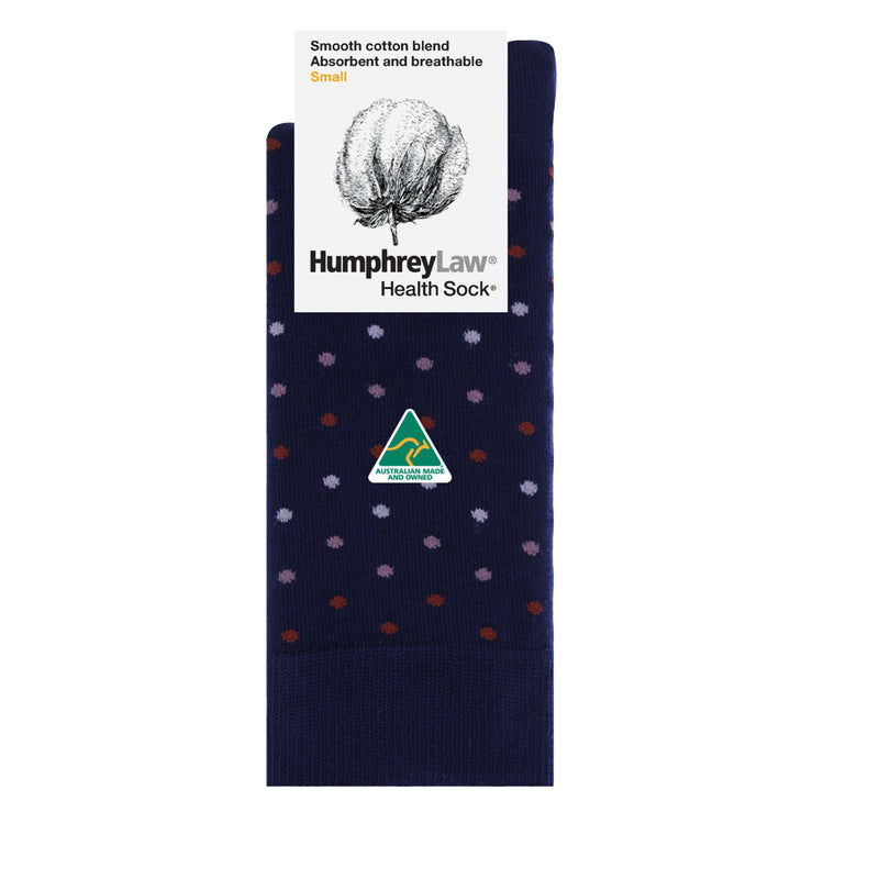 Polka Dots | Humphrey Law | 85% Mercerised Cotton Patterned Health Sock® Style 51C Size S