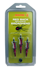 Redzone Red Back Mechanical Broadhead 3 pack | shown in packaging | Your Outdoor Store
