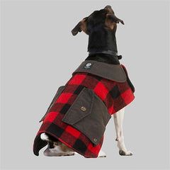 Red Black Check | Swanndri Classic Wool Dog Coat Sitting view of the back on a dog.