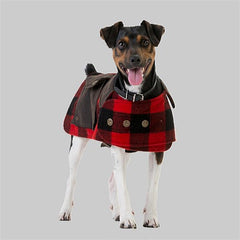 Red Black Check | Swanndri Classic Wool Dog Coat front view on a dog.