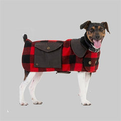 Red Black Check | Swanndri Classic Wool Dog Coat side view on a dog.