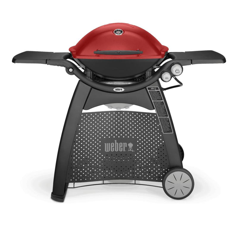 Black | Weber® Family Q Premium (Q3200) Gas Barbecue. Front View with Tables out