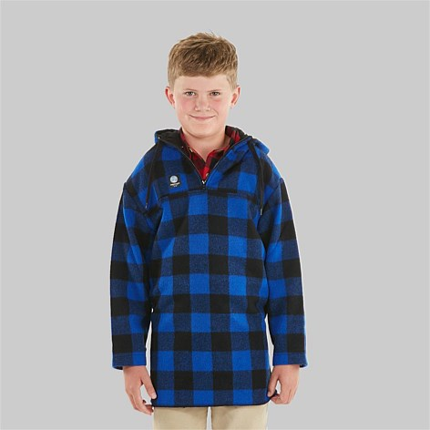 Blue Black Check | Swanndri Brixton Kids Bushshirt Modeled Full Front view