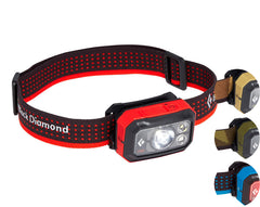 Black Diamond Storm Head Torch 375 Lumens. Full view of the Octane headlamp with colour inserts for Azul, Sand and Dark Olive.