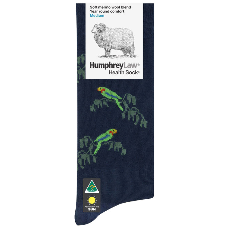Dark Blue Parrot | HumphreyLaw Soft Merino Wool Blend Year Round Comfort Health Sock
