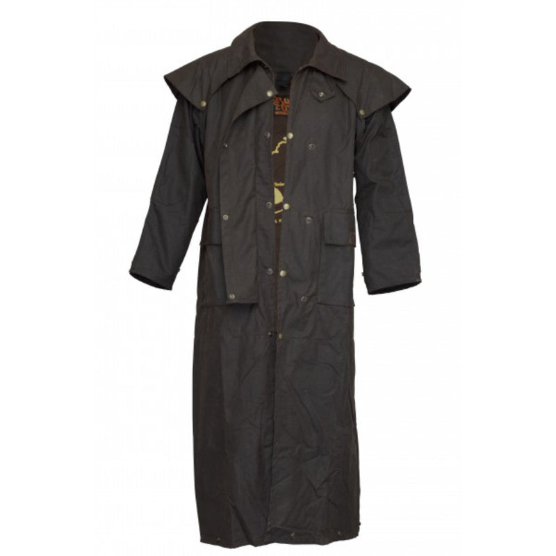Brown | Burke & Wills Balranald 3 Quarter Length Coat. Front Oilskin View with Buttons open. Your Outdoor Store