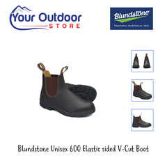 Brown | Blundstone Unisex 600 Elastic Sided V-cut Boot  Various angles and images