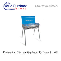 Companion 2 Burner Regulated RV Stove With Grill And Removable Legs