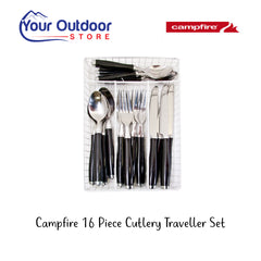 Campfire 16 piece cutlery Traveller set view in basket organizer