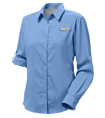 White Cap | Columbia PFG Tamiami Women's Long Sleeve Shirt. Front One Sleeve Rolled Up