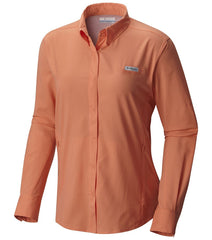 Peach | Columbia PFG Tamiami Women's Long Sleeve Shirt. Front