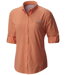 Peach | Columbia PFG Tamiami Women's Long Sleeve Shirt. Front both sleeves rolled up