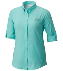 Pixie | Columbia PFG Tamiami Women's Long Sleeve Shirt. Front Sleeves rolled up