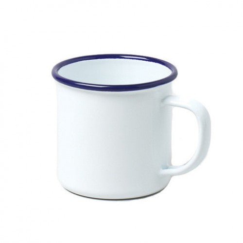 Falcon Housewares 350ml Enamel Mug | White with Blue Rim
