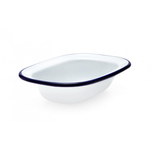 Falcon Housewares Enamel Oblong Pie Dish 16x12x4cm | White with Blue Rim