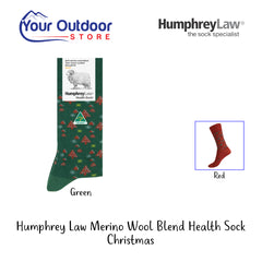 Green | HumphreyLaw Merino Wool Blend Health Sock - Christmas- Hero