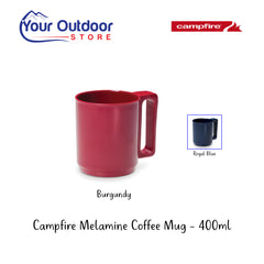 Burgundy | Campfire Melamine Coffee Mug 400ml with Blue mug insert