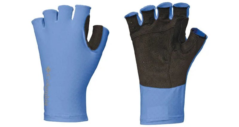 Blue | Columbia Freezer Zero Fingerless Gloves | Pair one with paml showing the other with the back showing | Your Outdoor Store